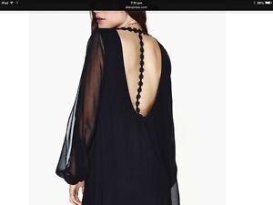 Sexy Black Plus Size Chiffon Deep Scoop Neck with Lace Trim ladies Mini Dress