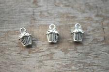 12pcs Cupcake Charms silver tone 3D Cupcake Charms pendants 13x10x8mm