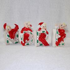 Vintage Christmas NOEL Elves Mid-Century Japan Elf Pixie Figurines Sprite Red