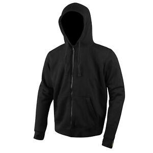Mens Black Biker Motorcycle Fleece Zip Hoodie Jacket Made with Kevlar CE Armour