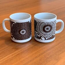 New listing Vintage Mcm Ceramic Coffee Tea Mugs Chrysanthemums Set of 2 White Brown
