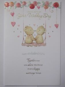LOVELY COLOURFUL EMBOSSED FLOWERS & BEARS ON YOUR WEDDING DAY GREETING CARD