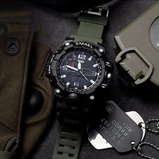 Mens Army Green Military Sports Quartz Analog LED Waterproof Digital Wrist Watch