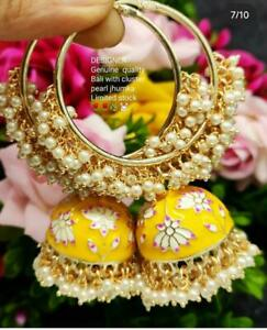 Indian Bollywood Pearl Enameled Yellow jhumkas Earrings Women Bridal Jewelry Set