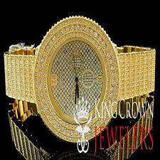 Mens Iced Out Yellow Gold Finish Lab Diamond Techno KC Joe Rodeo Custom Watch