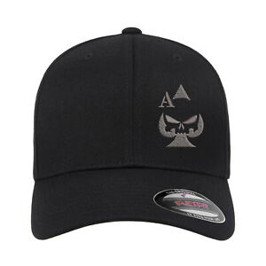 Ace of Spades Sniper Gun Punisher Embroidered Flexfit Fitted Baseball Cap Hat