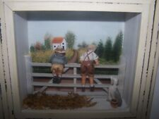 3D Boy Girl on Fence with Dog Country Scene Shabby Wall Shadow Box Dennis East