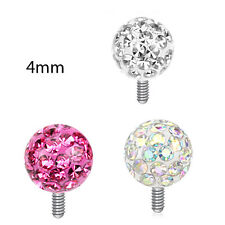 3 Pc 14G 4mm Clear Epoxy A.B. Pink Clear Ferido Ball Dermal Anchors Top Heads