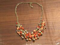Vintage Gold-tone Orange Rhinestone Beaded Dangle Statement Necklace #23