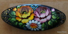 Russian flowers  WOOD  HANDPAINTED BARRETTE  HAIR PIN LARGE #42