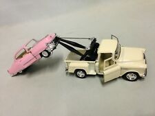 """2 Pcs 1955 Chevy TowTruck 1953 Cadillac Coupe 5"""" Diecast Pull Back Kinsmart Toy"""