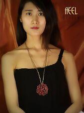 COLLANA Ciondolo D'oro Rosso Cristallo Rose Fiore Hollow Pendente Vintage OSC1