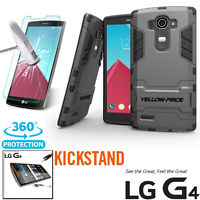 For LG G4 Tempered Glass Film+Slim Hybrid Hard Armor Protective Case Stand Cover