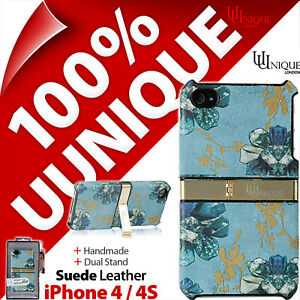 Uunique Hard Shell Case Cover Genuine Suede Leather for Apple iPhone 4 / 4S