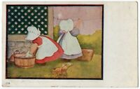 040720 VINTAGE A/S CORBETT SUNBONNET SUE TWINS POSTCARD WASH DAY 1909