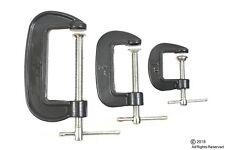 "3 Pc 1"" 2"" 3"" Inch Mini C Clamp Set Black Steel Frame Brand New"