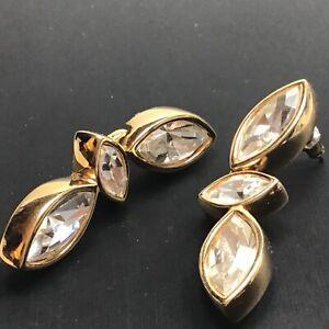 """Vintage S.A.L.Swarovski Drop Dangle Earrings Glass Pierced Ear 1-3/4"""" Gold Tone"""
