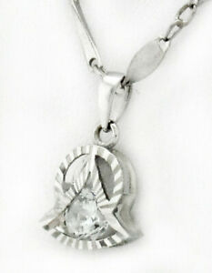 WHITE SAPPHIRE PENDANT NECKLACE 18K WHITE GOLD * Brand New with Tag *