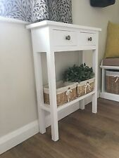 H80 W60 D20cm BESPOKE WHITE CONSOLE HALL TELEPHONE PLANT BEDROOM TABLE DRAWERS