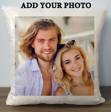 Personalised Customised Photo Glitter Cushion Cover Pillow White or Champagne