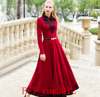 Women's Elegant Stylish Slim Full Long Red Dress Lace Stitching Long Sleeve Warm