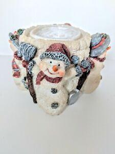 Frosted Snowmen Winter Wonderland Scene Candleholder
