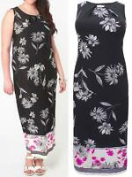 Evans BLACK Sleeveless Border Print Shift Dress - Plus Size 14 to 20