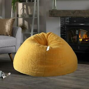 Bean Bag cover Yellow Jumbo Fur Giant Chair Furry Living Sofa Without Beans