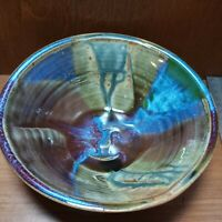 "Hamilton Williams signed Pottery bowl 7""x 2.5"" Blue purple Brn very nice example"