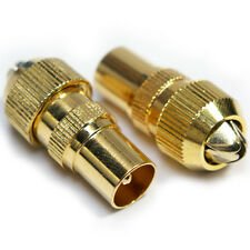 2x GOLD TV Aerial Male Connectors -Coaxial/Coax RF Cable Plug- Freeview Grip End