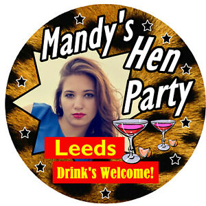 10 X LEOPARD PRINT HEN PARTY BADGES - BIG PERSONALISED BADGES, PHOTO / GIFTS