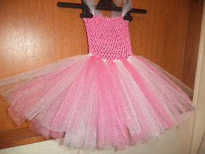 Pink & White 2 Layer Tutu Princess Party Dress Outfit Costume Dress Up