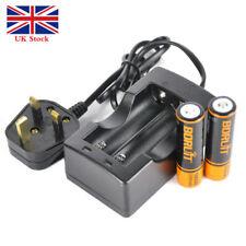 BORUiT 2pcs 18650 2200mah Li Rechargeable Battery for Lamp UK Dual Charger Hot