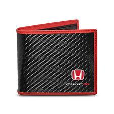 Honda Civic Si Real Premium Black Carbon Fiber Wallet with Red Stitched Edge