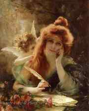 The Love Letter by Gabriel Ferrier - Art Woman Write Quill Cupid 8x10 Print 1006