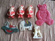 Vtg Wax Lot 4 Gurley Candles 3 Wax Ornaments Santas Deer Teddy Horse Elephant