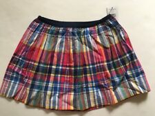 NWT Ralph Lauren Girls Polo Pony Cotton Madras Plaid Pleated Skirt L 12-14 $45
