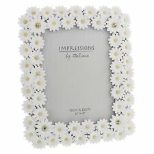 Impressions White Resin Chrysanthemum Photo Frame 6 X 8