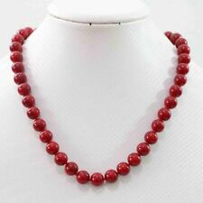 "beauty red coral stone round beads 8mm jewelry necklace18"" JN58"