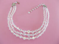 Aurora Borealis Crystal Necklace Vintage Three Strand Graduated For Pet Rescue