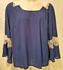 Top 1X Plus NY Collection NWT Lace Trim 3/4 Sleeve Navy Blue Blouse Shirt TM586