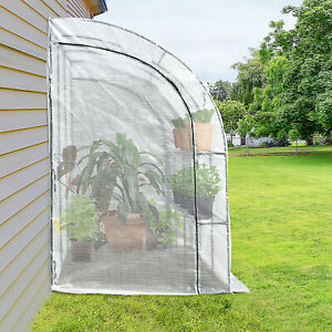 Walk-In Lean to Wall Greenhouse w/Window,Door,Shelf 200L x 100W x 215Hcm White