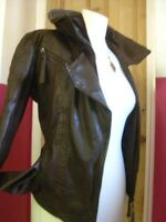 Ladies NEXT brown real leather JACKET COAT size UK 12 biker bomber blue lining