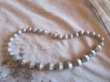 """Silver Faceted Plastic Graduated Bead Necklace - 18"""" long"""