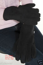 New Unisex Ladies Men's Suede Leather Winter Wram Thermal Black Gloves  One Size