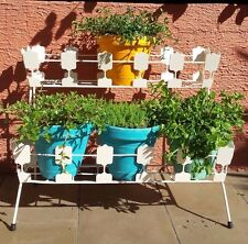 Funky Mid century retro vintage two-tier metal planter plant stand