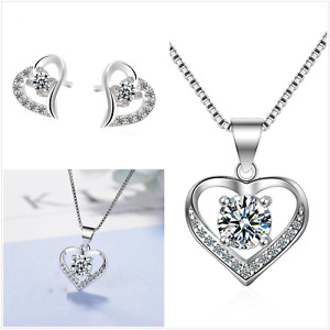 UK Heart CZ Sterling Silver Jewellery Set Gift Boxed