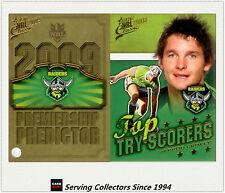 2009 NRL Classic Predictor + Top Tryscorer Card TT3 Jarrod Croker (Raiders)
