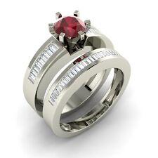 Certified Natural Ruby & VS Diamond 14k White Gold Engagement Bridal Set Ring