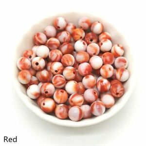 50pcs Acrylic Round Shape Beads 8mm Multicolor Loose Bead Jewelry Making Accesso